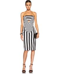 Cushnie et Ochs Striped Neoprene Strapless Dress - Lyst