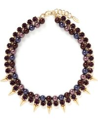Joomi Lim - Spike Crystal Faux Pearl Double Strand Necklace - Lyst