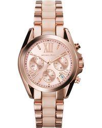 Michael Kors Women'S Chronograph Mini Bradshaw Blush And Rose Gold-Tone Stainless Steel Bracelet Watch 36Mm Mk6066 - Lyst