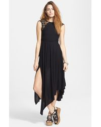 Free People 'Afternoon Delight' Lace Strap Asymmetrical Midi Dress black - Lyst