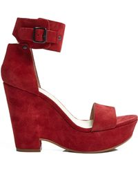 See By Chloé Suede Wedge with Ankle Buckle - Lyst