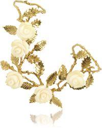 Bernard Delettrez - Thumb-forefinger Bronze Ring W/white Resin Roses - Lyst