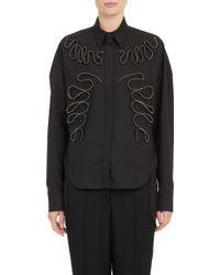 Stella McCartney Zipper Appliqué Piqué Shirt - Lyst
