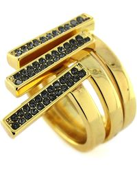 Vince Camuto Gold Tone and Crystal Bar Stacked Ring Set - Lyst
