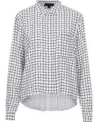 Topshop Womens Tall Window Pane Check Shirt  White - Lyst