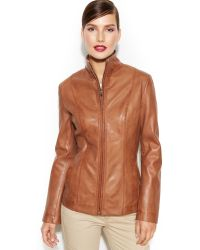 Cole Haan Zip-front Seamed Leather Jacket - Lyst
