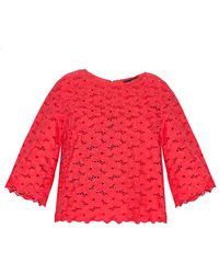 Pixie Market Red Lace Top - Lyst