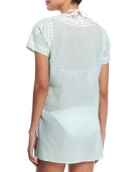 Florabella - Evian Embroidered Short-sleeve Coverup Tunic - Lyst