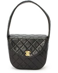 Chanel Preowned Black Quilted Lambskin Matelasse Mini Handbag - Lyst