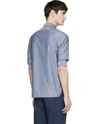 Kris Van Assche - Blue Chambray Gathered Sleeve Shirt - Lyst