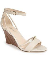 Nine West 'Fastness' Ankle Strap Wedge Sandal white - Lyst