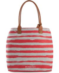 Burberry Striped Tote - Lyst