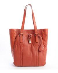 Olivia Harris Rust Leather 'Kraven' Padlock Tote red - Lyst