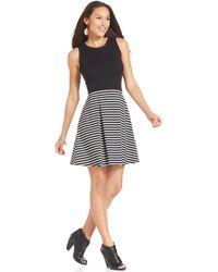 Karen Kane Contrast-Stripe A-Line Flare Dress black - Lyst