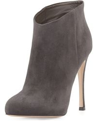 Gianvito Rossi Slip-on Suede Ankle Bootie - Lyst