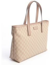 Gucci Old Pink Canvas and Leather Gg Tote - Lyst