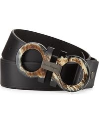 Ferragamo Horn-gancini Leather Belt - Lyst