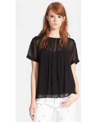 Marc By Marc Jacobs Pintuck Silk-Chiffon Top - Lyst