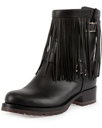 Valentino Fringe Leather Biker Boot - Lyst