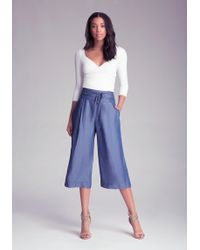 Bebe - Chambray Culottes - Lyst