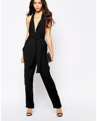 Never Fully Dressed - Tuxedo Neck Jumpsuit With Tie Front - Lyst