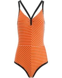 Roksanda Ilincic Orange Stripe Olinda Swimsuit - Lyst
