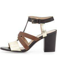 Andrew Stevens | Annabelle Crisscross T-Strap Sandal | Lyst