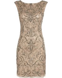 Adrianna Papell Beaded Mesh Sheath Dress - Lyst