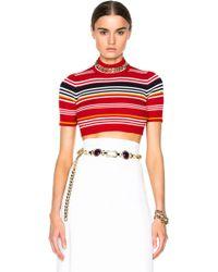 Alessandra Rich | Knitted Stripe Crop Top | Lyst