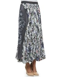 Rebecca Taylor Gray Gardens Accordionpleated Skirt Blackwhite - Lyst