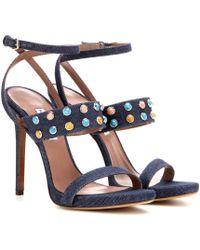 Tabitha Simmons Fayelinn Stone Denim Sandals blue - Lyst