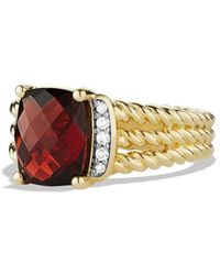 David Yurman Petite Wheaton Ring with Garnet and Diamonds in Gold - Lyst