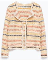 Zara Multicolored Jacquard Jacket multicolor - Lyst