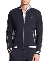 The Kooples Sport Stretch Cotton & Leather Zip-Up Jacket - Lyst