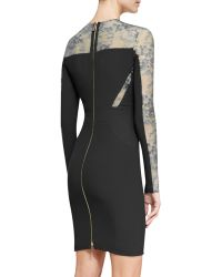 Elie Saab Long-Sleeve Lace-Inset Cocktail Dress - Lyst