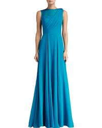 St. John Collection Silk Crinkle Georgette Draped Bodice Gown with Organza - Lyst