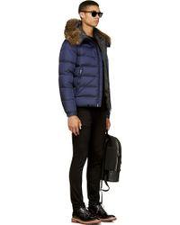 Moncler Navy Blue Genuine Fur Collar Byron Jacket - Lyst