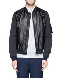 Lanvin Leather Front Cotton Bomber Jacket - Lyst
