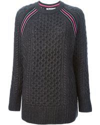 T By Alexander Wang Cable Knit Striped Detail Raglan Sleeve Sweater - Lyst