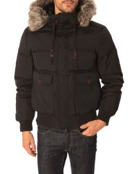 Schott Nyc Nevada Feather Black Quilted Leather Hooded Jacket - Lyst