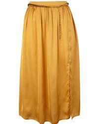 River Island Mustard Split Midi Skirt - Lyst