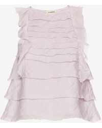 L'Agence   Charisse Ruffle Top   Lyst