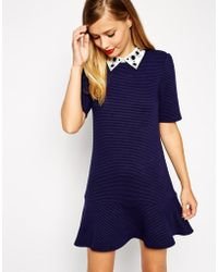 Asos Ribbed Peplum Hem Dress With Embellished Collar - Lyst