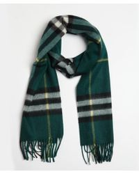 Burberry Forest Green Cashmere Nova Check Printed Scarf - Lyst