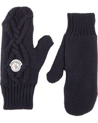 Moncler Cable-Knit Mittens - Lyst