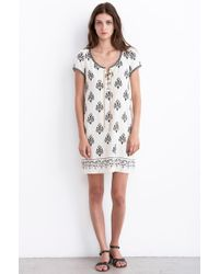 Velvet By Graham & Spencer Merna Printed Silk Noile Lace Up Dress - Lyst