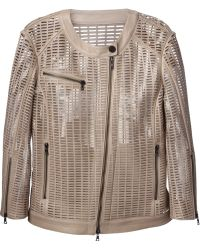 DROMe Perforated Leather Jacket - Lyst