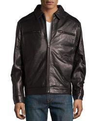 Emanuel Ungaro Lamb Leather Zip Jacket Black Small - Lyst