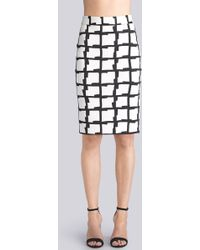 Natori Checker Print Spacer Pencil Skirt - Lyst