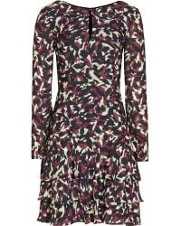Reiss Aster Painterly Print Ruffle Dress - Lyst
